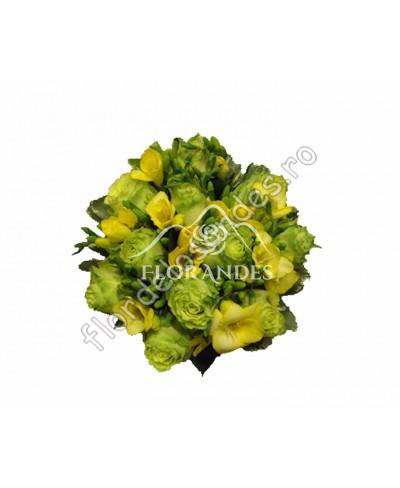 Buchet de mireasa din trandafiri verzi