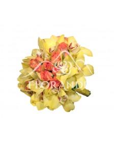 Buchet de mireasa cu orhidee galbena