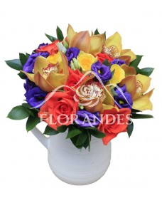 Buchet de mireasa cu orhidee si trandafiri