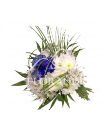Buchet de mireasa cu trandafiri albastri