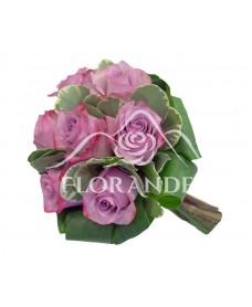 Buchet de mireasa cu trandafiri mov