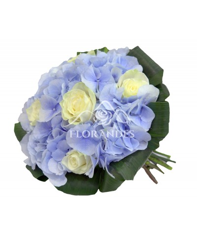 Buchet de mireasa hortensie si trandafiri