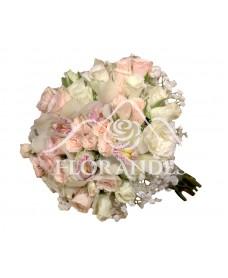 Buchet de mireasa minitrandafiri roz