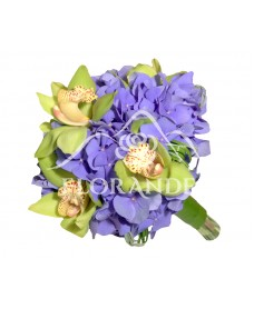 Buchet de mireasa orhidee si hortensie