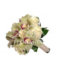Buchet de mireasa orhidee si trandafiri albi