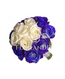 Buchet de mireasa trandafiri albastri
