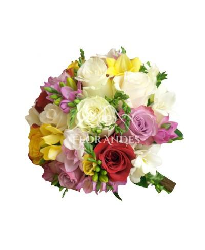 Buchet de mireasa trandafiri colorati si frezii