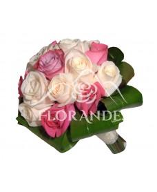Buchet de mireasa trandafiri crem si ciclam