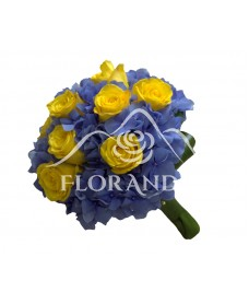 Buchet de mireasa trandafiri galbeni si hortensie
