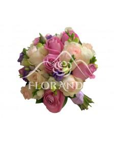Buchet de mireasa trandafiri roz si ciclam