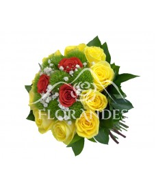 Buchet de mireasa trandafiri si garofite