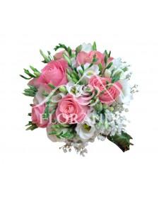 Buchet de mireasa trandafiri si lisianthus alb
