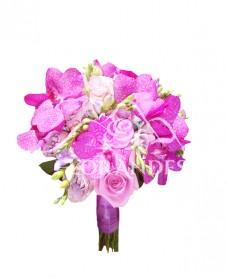 Buchet de mireasa trandafiri si orhidee vanda