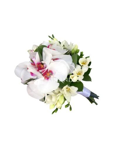 Buchet mireasa orhidee si frezii