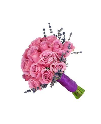 Buchet mireasa trandafiri mov si lavanda