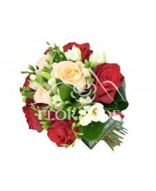 Buchet mireasa trandafiri si frezii