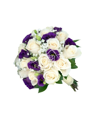 Buchet mireasa trandafiri si lisianthus mov