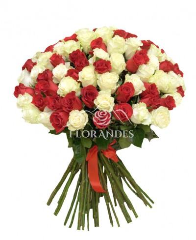 Buchet 101 trandafiri albi si rosii