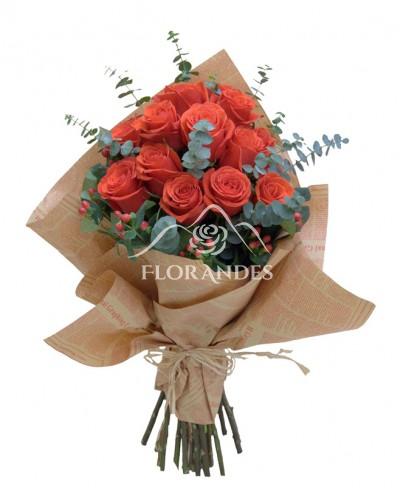 Buchet din 21 trandafiri rosii