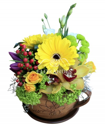 Aranjament floral cu orhidee si gerbera