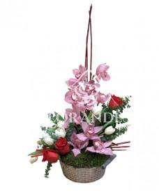 Aranjament floral orhidee si lalele