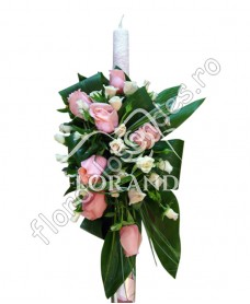 Lumanare de botez din trandafiri roz