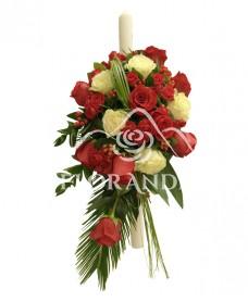 Lumanare botez minitrandafiri si trandafiri