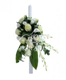 Lumanare botez trandafiri albi