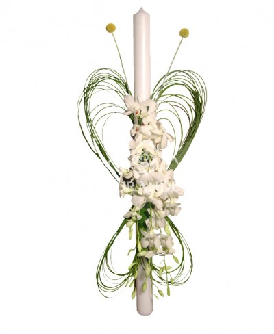 Lumanare de botez cu orhidee dendrobium