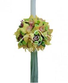Lumanare de botez cu orhidee galbena