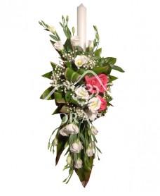 Lumanare de botez trandafiri ciclam si lisianthus