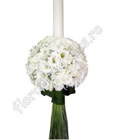 Lumanari de nunta din lisianthus alb