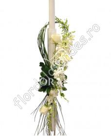 Lumanari de nunta din orhidee alba