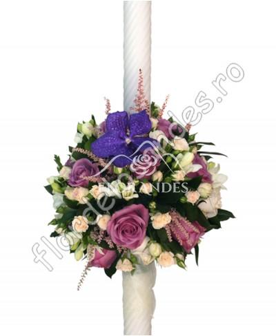 Lumanari de nunta din trandafiri mov