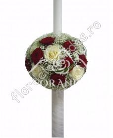 Lumanari de nunta din trandafiri rosii