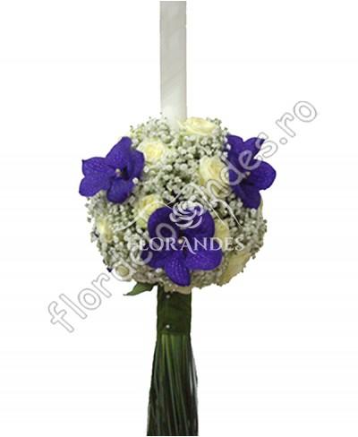 Lumanari de nunta din trandafiri si orhidee