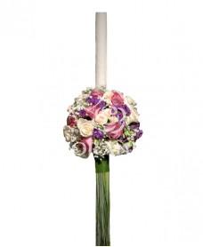 Lumanari de nunta cu trandafiri mov