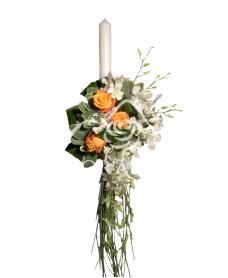 Lumanari de nunta cu trandafiri portocalii