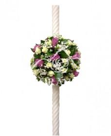 Lumanari de nunta minitrandafiri albi
