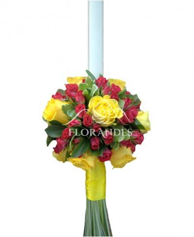 Lumanari de nunta trandafiri galbeni