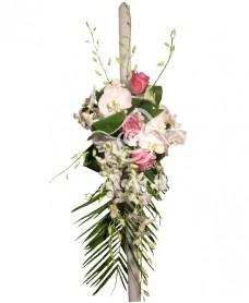 Lumanari de nunta trandafiri mov si orhidee