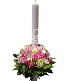 Lumanari de nunta trandafiri roz