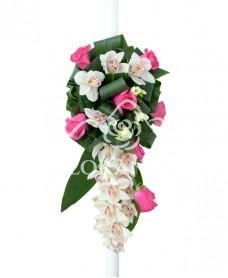 Lumanari nunta orhidee alba si trandafiri