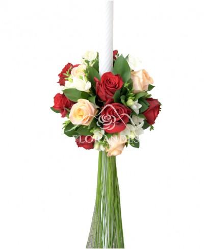 Lumanari nunta trandafiri si frezii