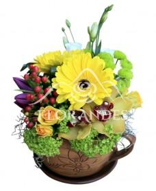 Aranjament floral cu gerbera si orhidee