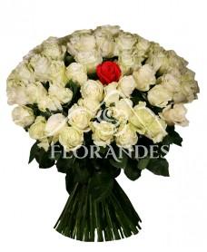 Buchet din 101 trandafiri albi
